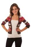 Портрет красивого девочка-подростка изолированного над белым backgro Стоковые Фотографии RF