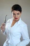 Портрет красивого и сексуального женского доктора в больнице Стоковое фото RF