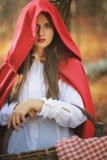 Портрет красивого маленького красного клобука катания стоковое изображение