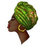 Портрет красивого молодого африканского зеленого цвета womanbright иллюстрация штока