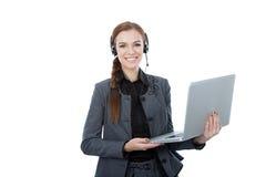 Портрет красивого работника клиента обслуживания держа компьтер-книжку. Белая предпосылка Стоковое фото RF