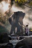 Портрет красивого сельского тайского платья носки женщины тайского с слоном в Чиангмае Стоковая Фотография