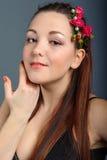 Портрет красивое коричнев-с волосами Стоковая Фотография RF