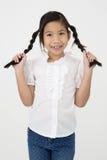 Портрет красивой азиатской девушки с счастливой стороной Стоковые Изображения