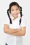 Портрет красивой азиатской девушки с счастливой стороной Стоковая Фотография