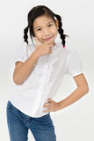 Портрет красивой азиатской девушки с счастливой стороной Стоковое фото RF