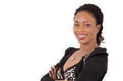Портрет красивой бизнес-леди усмехаясь и уверенно стоковое изображение rf