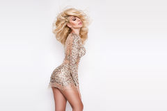 Портрет красивой блондинкы с изумляя глазами, плотных длинных волос с самыми интересными, зеленых глаз Стоковое фото RF