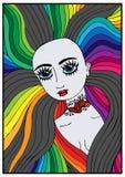 Портрет красивой девушки вампира с длинными красочными волосами Стоковые Фото