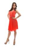 Портрет красивой девушки в красном цвете Стоковые Фото