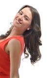 Портрет красивой девушки в красном цвете Стоковая Фотография RF