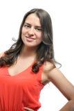 Портрет красивой девушки в красном цвете Стоковое фото RF