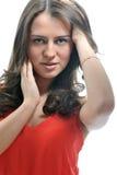 Портрет красивой девушки в красном цвете Стоковые Фотографии RF