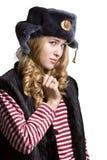 Портрет красивой девушки в крышке солдата Стоковые Изображения RF