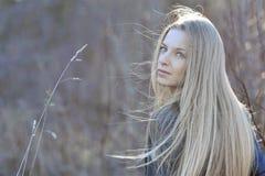 Портрет красивой девушки в древесине Стоковые Изображения