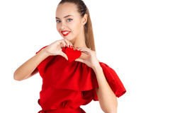 Портрет красивой девушки с красным сердцем Стоковое Изображение RF