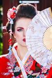 Портрет красивой девушки с причудливым составом гейши Стоковые Изображения