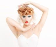 Портрет красивой девушки с составом моды Стоковая Фотография