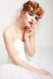 Портрет красивой девушки с составом моды Стоковое Изображение RF