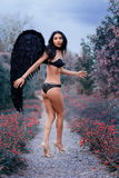 Портрет красивой девушки с чернотой подгоняет демона Стоковое Изображение RF