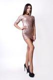 Портрет красивой женщины брюнет в розовом платье Съемка фото моды Стоковые Изображения RF