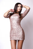 Портрет красивой женщины брюнет в розовом платье Съемка фото моды Стоковые Фотографии RF
