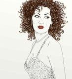 Портрет красивой женщины, вьющиеся волосы Стоковые Фотографии RF