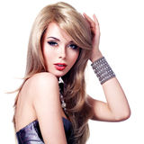 Портрет красивой женщины моды с ярким составом Стоковое Изображение