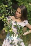 Портрет красивой женщины с ветвью яблони с яблоками Стоковые Изображения RF