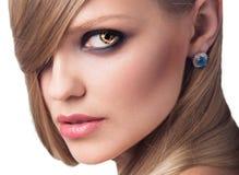 Портрет красивой женщины с горя глазами Стоковое Фото