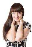 Портрет красивой женщины с длинными волосами на изолированный Стоковые Фотографии RF