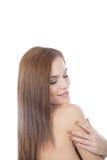 Портрет красивой женщины с мягкой кожей.  Стоковые Изображения