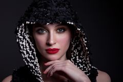 Портрет красивой женщины с ярким составом, красной губной помады Стоковое Изображение
