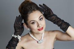Портрет красивой женщины любит известная актриса Стоковое Фото