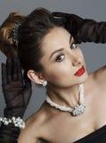 Портрет красивой женщины любит известная актриса Стоковая Фотография