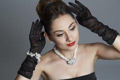 Портрет красивой женщины любит известная актриса Стоковые Изображения