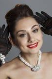 Портрет красивой женщины любит известная актриса Стоковое Изображение