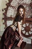 Портрет красивой женщины steampunk стоковое изображение