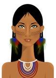 Портрет красивой индигенной женщины иллюстрация штока