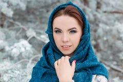 Портрет красивой милой рыжеволосой девушки в лесе зимы Стоковые Фотографии RF