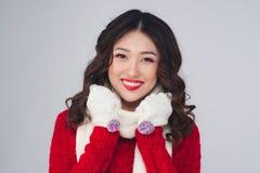 Портрет красивой молодой азиатской женщины в теплых одеждах Стоковая Фотография