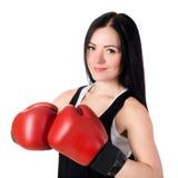 Портрет красивой молодой женщины брюнет с красным glo бокса Стоковые Фотографии RF