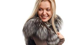 Портрет красивой молодой женщины в жилете меха Стоковое Изображение