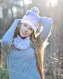 Портрет красивой молодой женщины в парке осени Стоковые Фото
