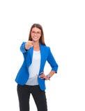 Портрет красивой молодой женщины указывая на вас, на белой предпосылке Стоковая Фотография RF