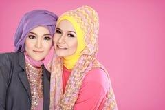 Портрет красивой мусульманской женщины 2 совместно стоковые изображения