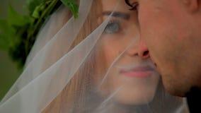 Портрет красивой невесты под вуалью и groom на их день свадьбы видеоматериал