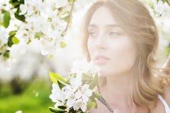 Портрет красивой романтичной дамы в цветениях яблонь Стоковые Изображения RF