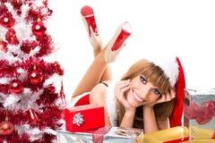 Портрет красивой сексуальной девушки santa Стоковое Изображение