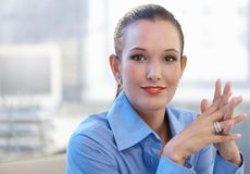 Портрет красивой умной женщины стоковая фотография rf